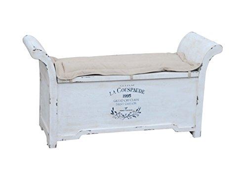 Kobolo Truhenbank Sitzbank Vintage aus Holz weiß mit Auflage