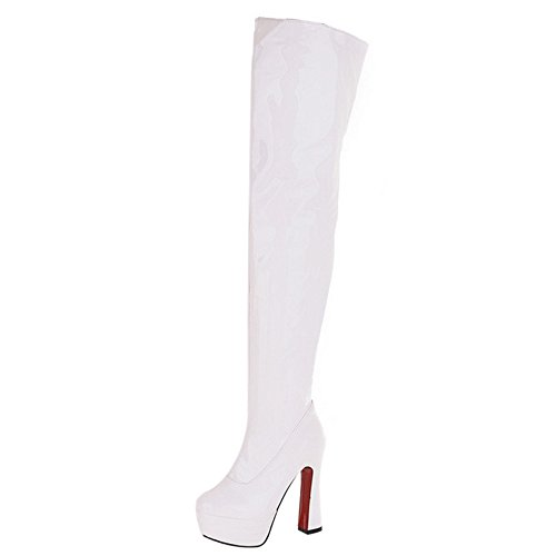 COOLCEPT Damen Mode Hohe Ferse Plateau Stiefel White Size 38 Asian