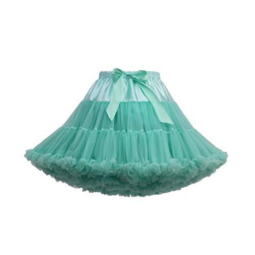 Andouy Damen Tutu Rock Tüll Mini Bogen Plissee Dance Organza Kostüm Prinzessin Dress-up Pettiskirt Größe 34-46(34-46,Türkis)