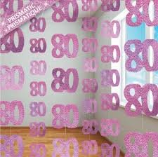 80TH Birthday Hanging Decoration (UNIQUE NEW PINK) by FANCYDRESSCOZ
