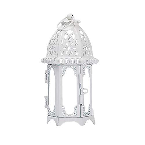 , Metalllaterne Weinlese Kerzen Tee Licht-Halter-Garten Hochzeits Dekoration, die Tee Licht Halter Geschenk Satz hängt (White) ()