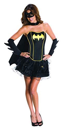 costumebakery - Damen Frauen Batgirl Kostüm mit Corsage,, Mini Tütü Rock, Cape, Umhang und Armstulpen, perfekt für Karneval, Fasching und Fastnacht, L, Schwarz
