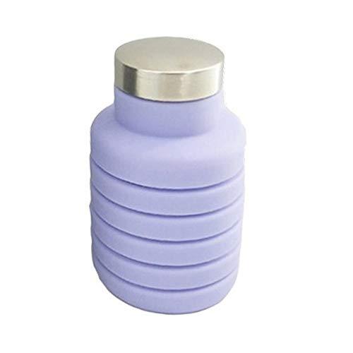 LKYJ 500 ML Tragbare Silikon Wasser Flasche Versenkbare Klapp Kaffee Flasche Im Freien Reise Trinken Faltbare Sport Getränk Wasserkocher Lila 500ML - Brita-wasser Flasche Lila