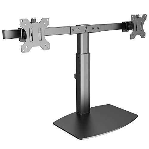 RICOO TS4111, Dual Monitor Tisch-Halterung 2 Monitore, Gasdruck Höhenverstellbar 17-27 Zoll (33-69 cm) Neigbar PC-Bildschirme VESA 100x100, Schwarz