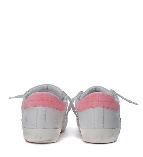 Philippe Model Sneaker Paris En Cuir Blanc Et Rose Fluo Blanc