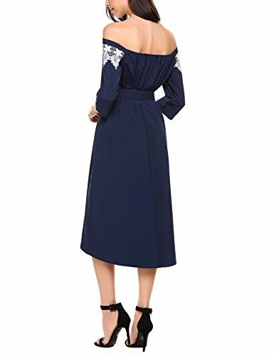 Meaneor Damen Cocktailkleid Partykleid Schulterfrei mit Spitze Skaterkleid 3/4-Arm Sommerkleid mit Gürtel High-low knielang Marineblau