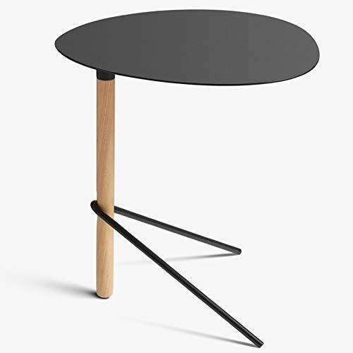 cj-CJ Beistelltisch Mit Eisen Top,Beistelltisch Nachttisch Stand Kaffee Tee Sofa Beistelltisch Mit Buche Beine-Schwarz 46x48cm(18x19inch) - Marmor Top Sofa Tisch