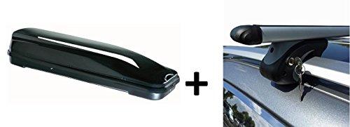 Dachbox schwarz VDP JUFL460 großer stabiler Dachkoffer abschließbar + Alu-Relingträger Dachgepäckträger für Mazda 5 05-10
