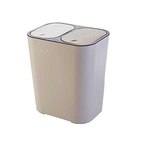 Rectangle Plastic Push-Button Mülleimer, organisieren Sie es alle Dual-Fach Step-On 15liter / 4Gallon Recycling-Mülleimer, klassifiziert Mülleimer mit Secure Slide Lock für Küche ( Farbe : Beige )