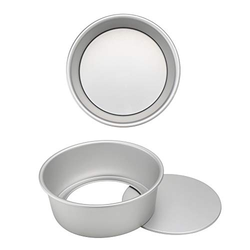 Beasea Kuchen-Backform, 20,3 cm, 2 Stück, Aluminiumlegierung, runde Kuchenform, Käsekuchenform mit abnehmbarem Boden Deep Dish-pizza, Quiche