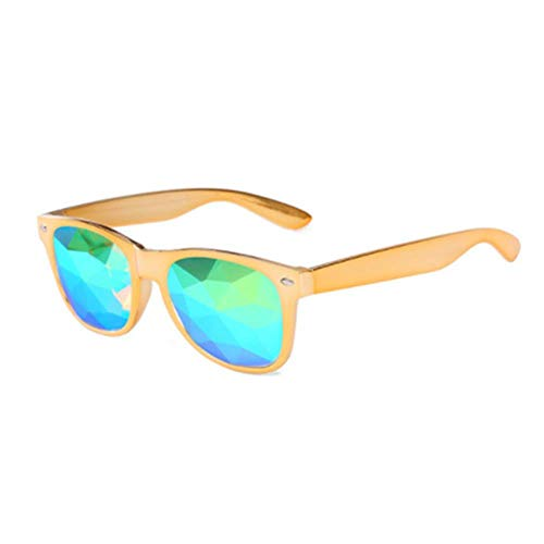 CRAVEN Kaleidoskop Brille Frauen Männer Retro Beugungslinse Holographische Brille Rave Festival Party EDM Sonnenbrille Männlich Weiblich, Gold, als picteur