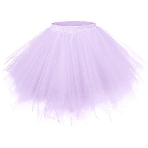 96a00113aa8d21 GirstunmBrand Damen 50er Vintage Tüllrock Petticoat Mehrfarbig Bubble  Tanzkleid Rock Lavendel-S/M