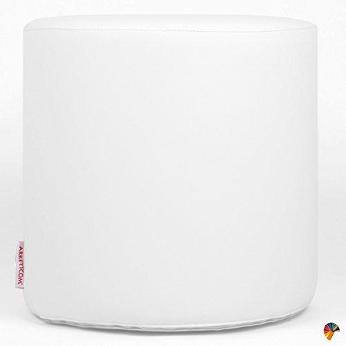Arketicom Sitzwurfel Pouf Chill, Kunstleder Zylinder (Abnehmbare) Und Polyurethan Nicht-Gerade Weiss 35x35 cm -