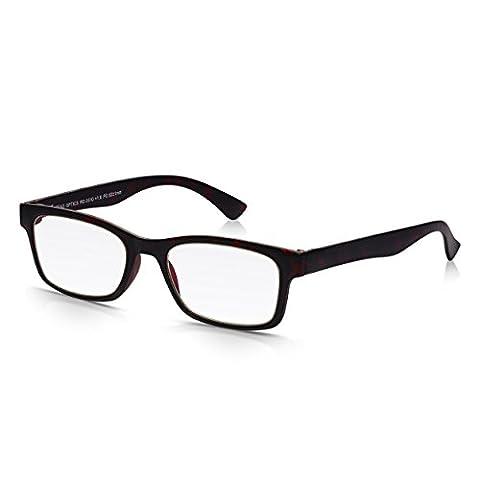 Read Optics Wayfarer Reading Glasses in Tortoiseshell: Mens / Womens Vintage Style in Ultra Lightweight, Thin Frame of Tough, Flexible Polycarbonate. Magnifying +2.5 Non Prescription Optical Lenses