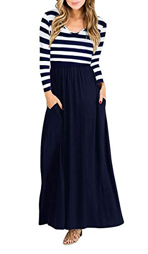 Yidarton Women Long Sleeve Maxi Dresses Cocktail Party Dress with Pockets