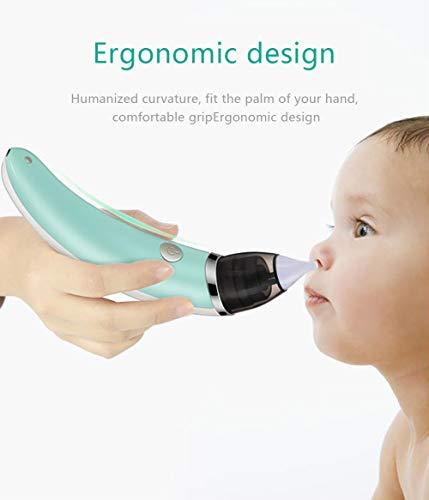 Baby Nasensauger elektrisch,Elektrischer Nasenreiniger 5 Saugleistung-Stufen,Baby und kleines Kinder 2 Größen Silikonspitzen,LightGreen