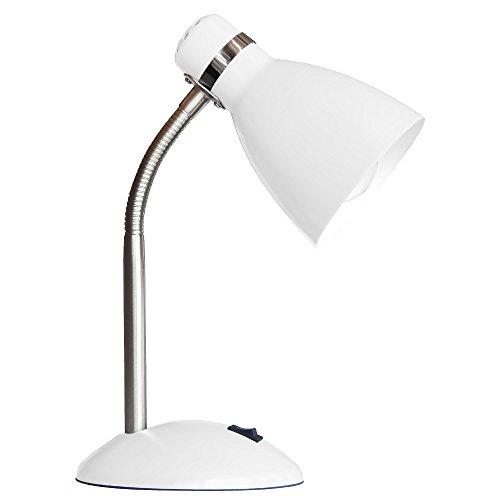 Schreibtischleuchte aus Metall weiß 1 flammig flexibler Arm Schalter (Schreibtischlampe, Nachttischleuchte, Nachttischlampe, Tischleuchte, Tischlampe, Höhe 35 cm, Fassung E27) (Hoch Tischlampe)