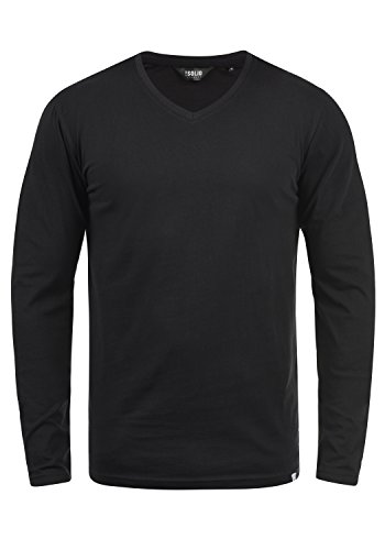 !Solid Beda Herren Longsleeve Langarmshirt Shirt Mit V-Ausschnitt, Größe:XL, Farbe:Black (9000) -