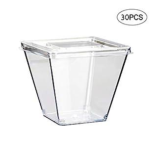 Amasawa 30 Stück 270 ML Einweg Dessertbecher Kunststoff Transparent Wiederverwendbar mit Deckel für Buffets Desserts Partys Catering (Quadrat)