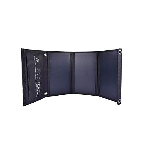 Capacidad total del panel solar: panel solar Sunpower 6V / 18 Watts   Cantidad de paneles solares: 3 PCS   Salida máxima total: 5V / 15W   Salida: Puertos USB 5V duales. Salida única USB máxima: 5V / 2.4A   Certificación: CE, ROHS, FCC   tamaño: 2...