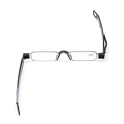 Klappbare, drehbare Lesebrille Mini Tragbare, ultraleichte, ultradünne, faltbare HD-Anti-Ermüdungs-Brille aus Resin-Metall-Silikon Rutschfeste Brillen für Frauen, Männer und Wanderbrillen,Black,+3.5