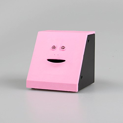 Caja de ahorro de cara automática para máquina de monedas, caja de depósito eléctrica, dinero que interesa el dinero, bonito regalo, color rosa