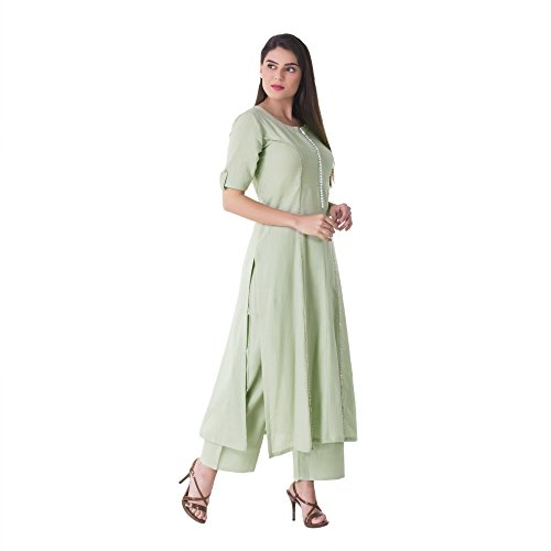 Khushal Women's Cotton Designer Kurta With Palazzo Pant Set