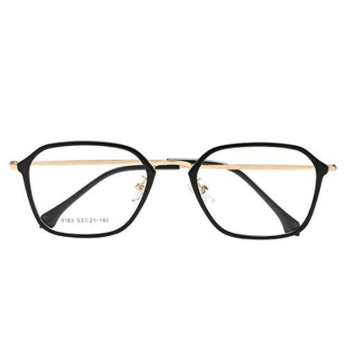 Sixminyo Mode Unisex Retro quadratische Brille Nicht verschreibungspflichtige Brille Männer, Frauen (Color : Black+Gold)