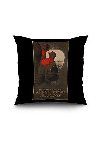 Exposition Internationale - Milan 1906 Vintage Poster (artist: Metlicovitz) Italy (18x18 Spun Polyester Pillow Case, Black Border)