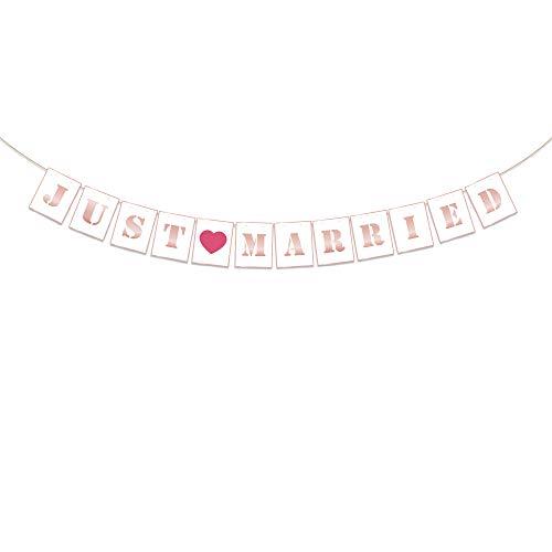 Losuya Just Married Bunting Banner Girlande Rosa Stil Hängendes Foto Kulisse für Hochzeit, Valentines, Junggesellenabschied Dekoration
