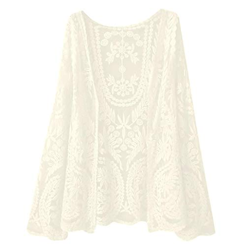 Toasye Womens Ladies Casual Long Sleeve Lace Ladies O-Neck Tops Coat Smock Lace Long Sleeve Coat