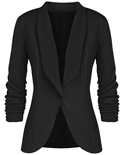 Blazer Damen Jerseyblazer Jacke Kurz Langarm Sweatblazer Casual Oberteil Sweat Tailliert Schwarz Slim Business Büro elegant (M, Schwarz)