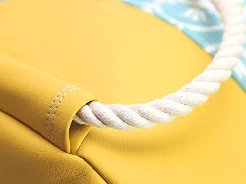 Blau gelber Rucksack / Seesack mit ethno Mandala Motiv. Aus hochwertigem Canvas mit weißer Kordel. Vegane Yoga - Sporttasche - 3
