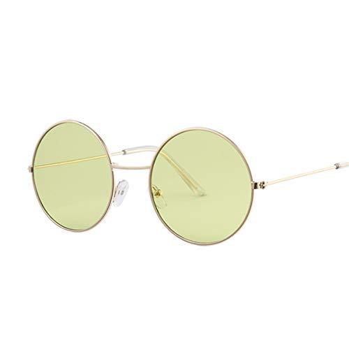 FGRYGF-eyewear Sport-Sonnenbrillen, Vintage Sonnenbrillen, Vintage Round Sunglasses Women Ocean Color Lens Mirror Sunglasses Female Metal Frame Circle Glasses Oculos UV400 Gold Green