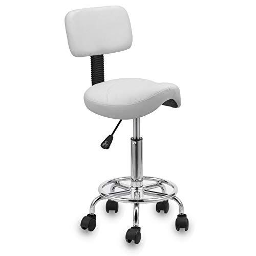 Voilamart Arbeitshocker Rollhocker mit Kurve Gepolsterter Sitzfläche und Rückenlehne,Kosmetikhocker Drehhocker für Ärzte, Friseure, Tätowierer (Weiß)