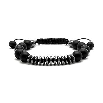 Armband mit ONYX Perlen Hämatit Shamballa Armreif Armschmuck Bracelet herren