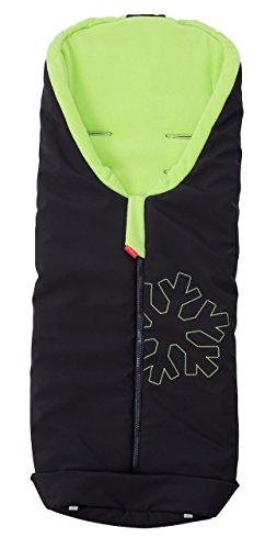 ByBoom® Softshell Winterfußsack Thermo Aktiv für Kinderwagen und Buggy, Farbe:Schwarz/Limette