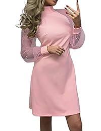 107034c9b03b Innerternet Vestiti da Donna Mini Filato Netto Abito Tinta Unita al  Ginocchio Dress Discoteca Sexy Estivo