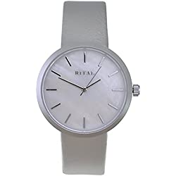 Women's Watch RITAL Silver Metal Case and Indexes White Mother of Pearl Dial and Grey Band / Simple Elegant Classic Design