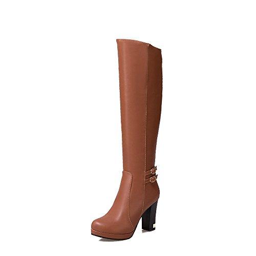QIN&X Donna punta tonda blocco tacco tacchi lunghi stivali scarpe di grandi dimensioni Brown
