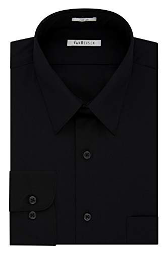 Van Heusen Regular Fit Long Sleeve Dress Shirt BLACK 16 Nk 32-33 Sl (Van Heusen-hemd Slim Fit)