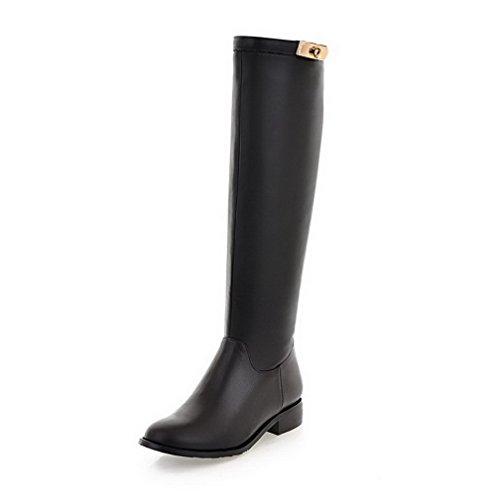 AgooLar Damen Rund Zehe Rein Blend-Materialien Stiefel Schwarz-Reißverschluss