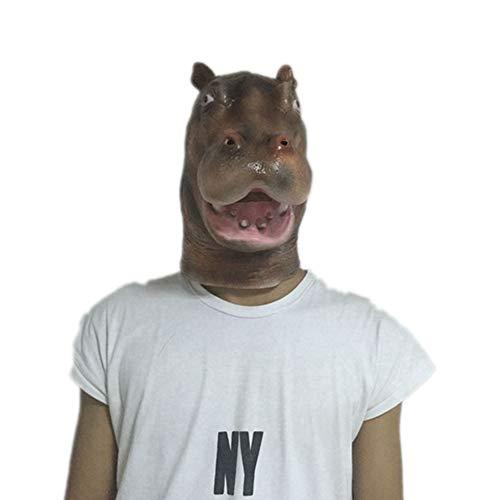 Lixinfushi Hippo Head Latex Mask, Animal Rubber Costume Halloween Party Cosplay Teatro Prop Giocattoli