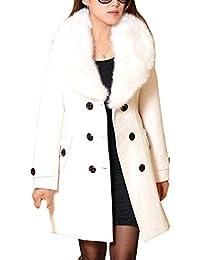 Donna Giaccone Manica Lunga Slim Fit Double Breasted con Collo Pelliccia  Abbigliamento Eleganti Invernali Moda Cappotto 5907b1d01c6