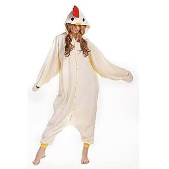 nouveau cosplay poulet blanc polaire kigurumi adulte pyjama - Beige - Unisex - S