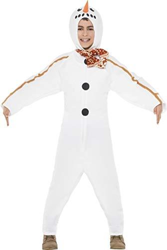 Schneemann Frosty Kostüm - Kinder Jungen Mädchen Winter Frosty Schneemann All in One Weihnachten Festive Fancy Kleid Kostüm Outfit