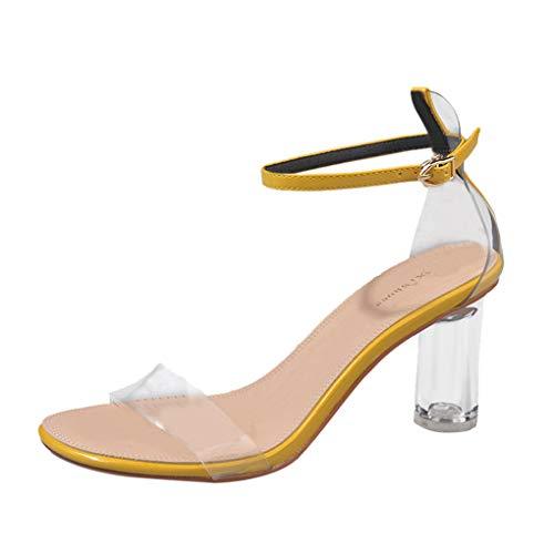 Dorical Damenschuhe Sandalen Schnalle-Schuhe High Heel Peep Toe Knöchelriemen Schuhe Transparente Schuhe Elegant Riemchensandalen Sandaletten mit Absatz Freizeit Party-Schuhe(Gelb,39 EU)