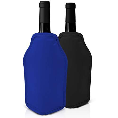 Lot de 2 Manchons Refroidissants à Vin - Parfait pour Refroidir les Bouteilles de Vin et de Champagne - Idéal pour les Fêtes, Dîners et Événements,Noir et Bleu