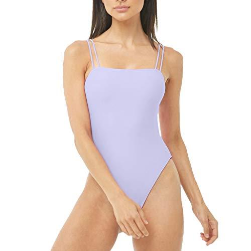 FRAUIT Damen One Piece Badeanzug Push Up Printed Einteiler Bikini Trainings Bademode Frauen Solid Lighttech High (Schnelltrocknend, UV-Schutz, Chlorresistent) Sport Freizeit Swimsuit Swimwear