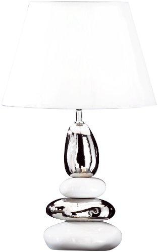 Honsel Leuchten 57431 Stone - Lampada da tavolo in ceramica con paralume, eco alogena E27 42 W, colore: Bianco